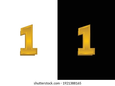 3d golden number isolated 01 on Black and white background