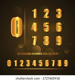3D Golden Numbers Collection Pack for different uses