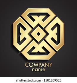 3d golden ornamental octagon logo design