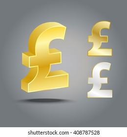 3D Golden Pound sterling Money sign