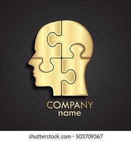 3d golden puzzle human head logo