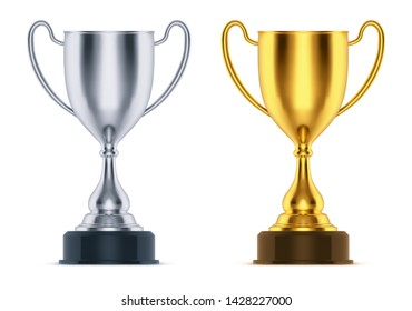 3d golden and realistic silver cup or trophy. Isolated first and second place goblet for sport event or competition celebration. Gold and runner up game price. Icon for tennis, race, soccer award.