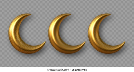 3d golden reflective crescent moons with arabesque pattern. Decorative vector elements for Muslim holidays. Isolated on transparent background.
