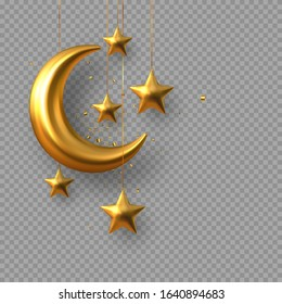 3d golden reflective crescent moons with hanging stars and confetti. Decorative vector elements for Muslim holidays. Isolated on transparent background.