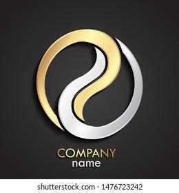 3d golden silver elegant linear shape circle logo