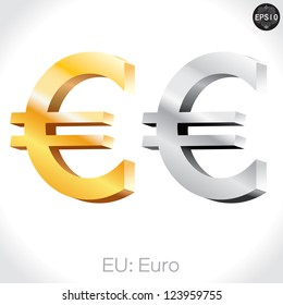 3D golden & Silver Euro sign isolated on white, vector illustration.