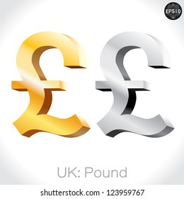 3D golden & Silver Pound sign isolated on white, England money, vector illustration.