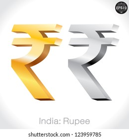 3D golden & Silver Rupee sign isolated on white, India money, vector illustration.