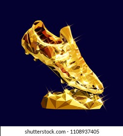 3d golden soccer shoe boot cleat vector low poly modeling design sparkle vector illustration football geometric triangle  concept championship