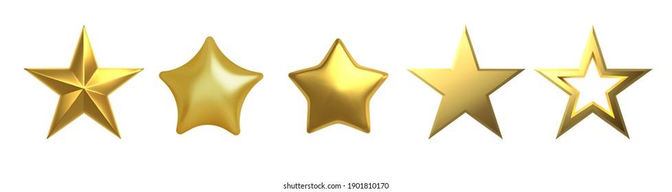 3D Golden star on white background Vector illustration