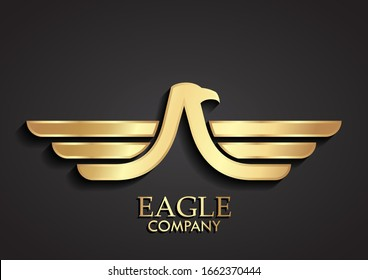 3d golden stylized eagle wings logo design