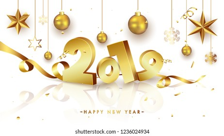 3D golden text 2019 with shiny wavy ribbon on white background for Happy New Year celebration greeting card design.