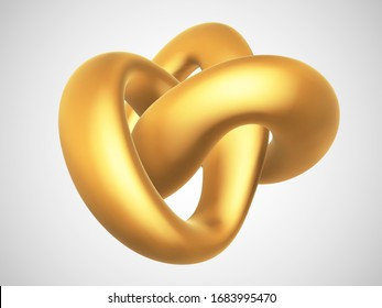 3D golden torus knot isolated on white background. Glamorous and luxury golden decoration element. Symbol of infinity and endlessness made of gold. Vector illustration of abstract geometric shape.
