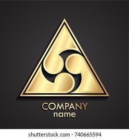 3d golden triangle japan style logo
