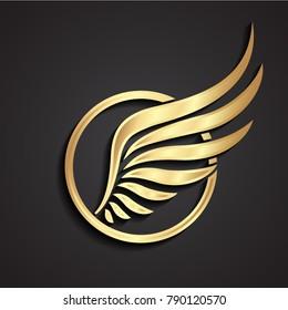 3d golden wing logo in circle