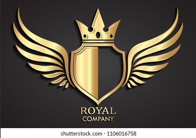 3d golden winged shield with crown logo / heraldry symbol