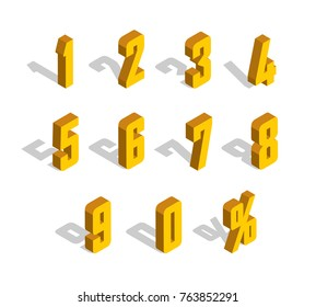 3D golden-yellow Isometric Letter. 0, 1, 2, 3, 4, 5, 6, 7, 8, 9 numeral alphabet. Vector Isolated Number.