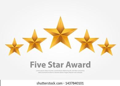 3d gradient five star award illustration vector