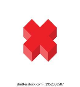 3d gradient letter x logo decoration vector