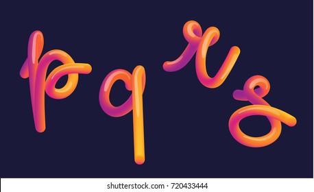 3d gradient lettering. Font set with letter - p, q, r, s . Vibrant gradient shape. Liquid color path. Typography vector illustration. Bubble font with glint. Futuristic style vector 10 EPS.