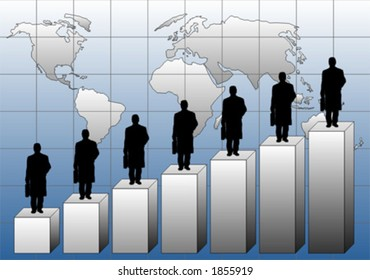 3D graphic chart with businessman and world map