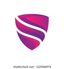 3d graphic shield initial/letter s emblem/badge logo design