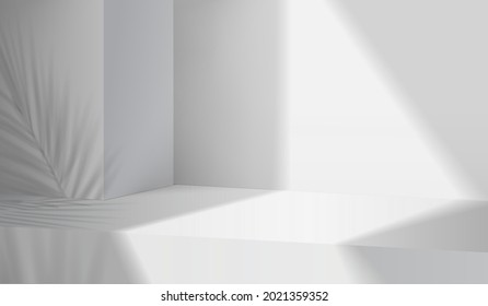 3d gray stage background product display podium scene with leaf platform. grey background vector 3d render with podium. stand to show cosmetic product. 3d Stage showcase on display white background - Shutterstock ID 2021359352