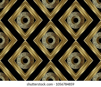 3d Greek key meander gold seamless pattern. Vector abstract geometric background. Vintage ancient greek ornament with rhombus, circles, frames, . Surface texture. Design for wallpaper, fabric, textile