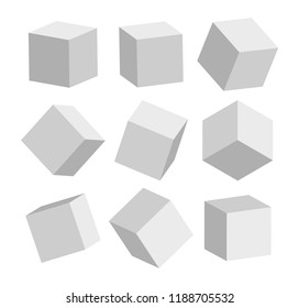 3d grey realistic modern square standing in different positions vector illustration