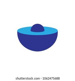 3D half circle logo design vector