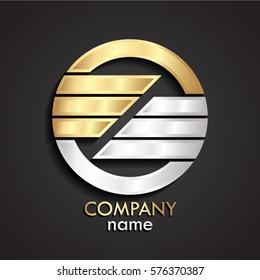 3d half gold silver modern design circle logo