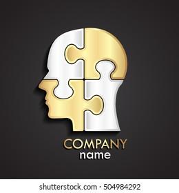 3d half silver gold puzzle human head logo