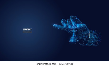 3d hand holding chess pawn. Strategy, planning, business concept. Digital vector illustration in dark blue background. Abstract low poly wireframe with connected dots, lines, shapes and glowing stars