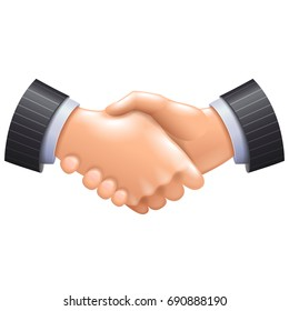 3d handshake icon isolated on white vector illustration