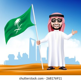 3D Handsome Saudi Arab Man in Traditional Dress With Shades Stand Holding National Flag of Saudi Arabia with Famous Buildings at the Back of Desert. Editable Vector Illustration