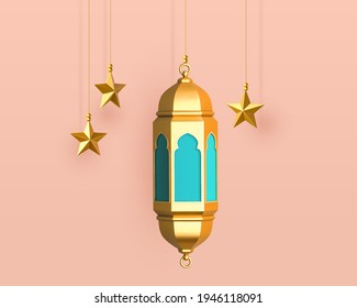 3d hanging Ramadan lantern and star decorations. Islamic object collection isolated on pink background.