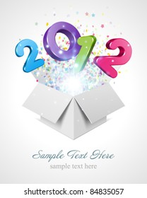 3d Happy new year 2012 3d message fly fro open box vector background. Eps 10.