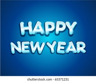 3d happy new year message vector background