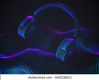 3D headphones on sound wave background. Colorful abstract visualization of digital sound and electronic music listening. Vector illustration of music equalizer and modern digital audio equipment.