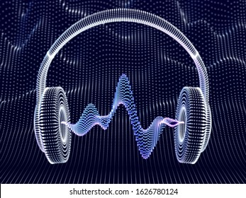 3D headphones with sound waves on dark background. Abstract visualization of digital sound and modern art. Concept of electronic music listening. Digital audio equipment. EPS 10 vector illustration.