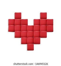 3d Heart from red squares. Vector illustration