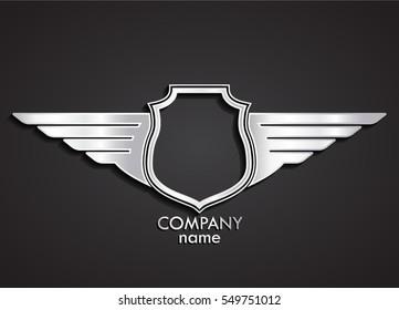3d heraldic shield and wings logo / silver emblem