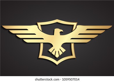 3d heraldry eagle with shield golden logo