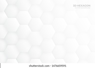 3D Hexagon Blocks Structure White Vector Abstract Background. Three Dimensional Science Technologic Hexagonal Pattern Light Conceptual Minimalist Illustration. Clear Blank Subtle Textured Backdrop