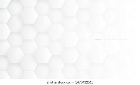 3D Hexagons Vector White Abstract Background. Scientific Technologic Three Dimensional Hexagonal Blocks Light Conceptual Wallpaper. Tech Clear Blank Subtle Textured Backdrop