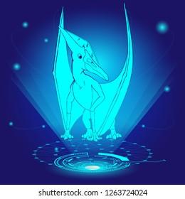 3D hologram of Pteranodon. Vector illustration.