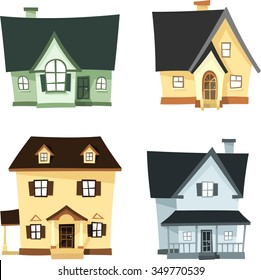 3D Homes Cartoon Set-Different variations of house architecture against white background
