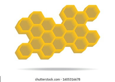 3d honeycomb bee icon isolated on white background.Hexagon style.Beehive polygon.Geomatric shape pattern.Design for your product brand logo ,element of infographic.Work for print and screen.Vector.
