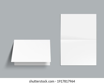 3D Horizontal Half-fold Blank White Brochure Template. EPS10 Vector