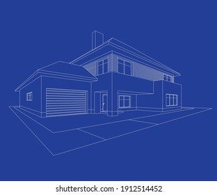 3D House building sketch. House line Icon on blue background. Illustration Vector